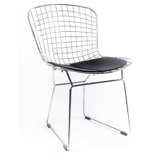 Стул HARRY BERTOIA SIDE CHAIR, сталь/подушка чернаяМеталлические стулья<br><br>