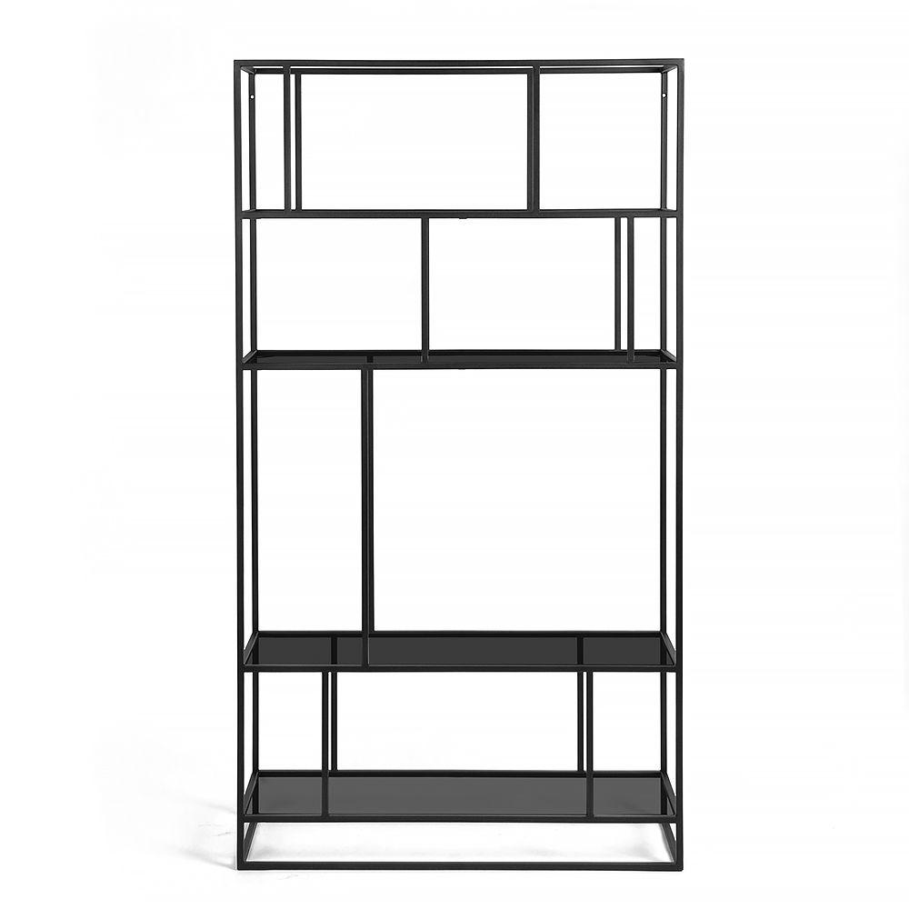 Купить Стеллаж Makella black, черное стекло в интернет магазине дизайнерской мебели и аксессуаров для дома и дачи