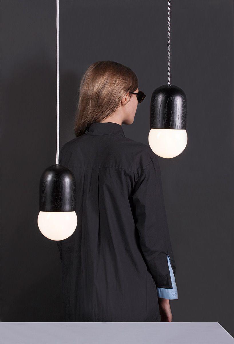 Подвесной светильник Light Bean Black c чёрно-белым проводом