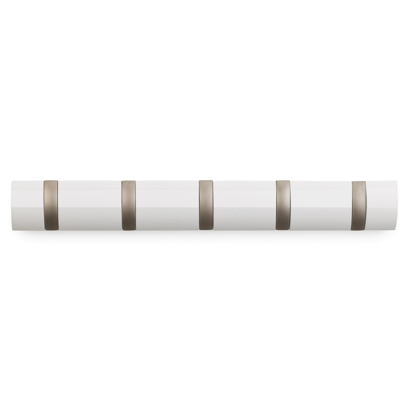 Вешалка настенная горизонтальная Flip 5 крючков белаяНастенные вешалки<br><br>