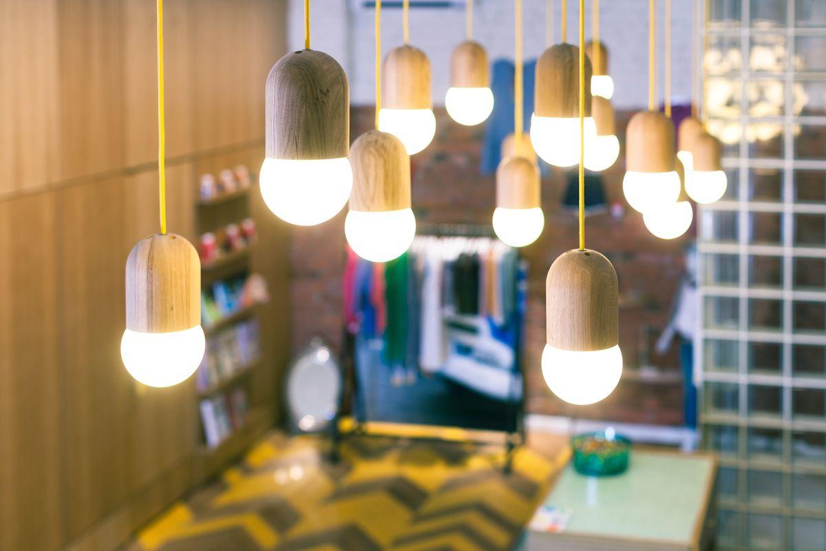 Подвесной светильник Light Bean матовый со светло-зелёным проводом