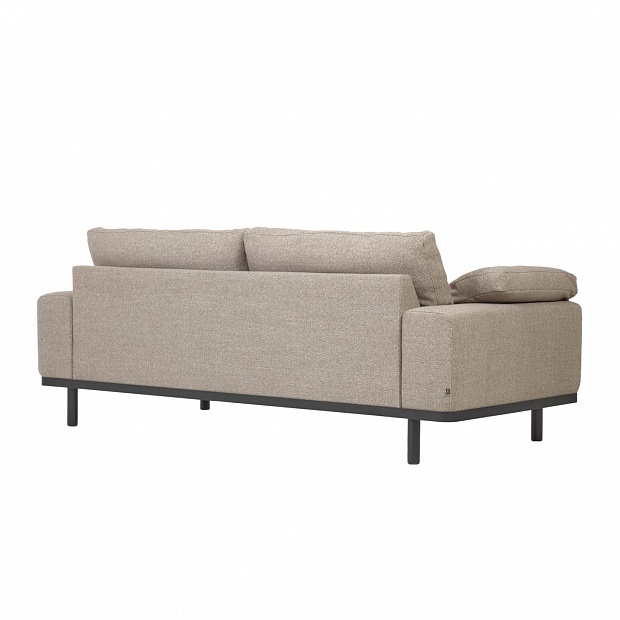 Noa beige 3-seater sofa with pillows and dark legs