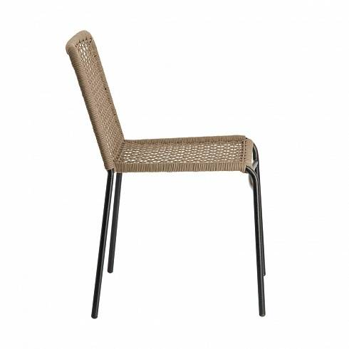MANDYRA Chair metal grey rope beige