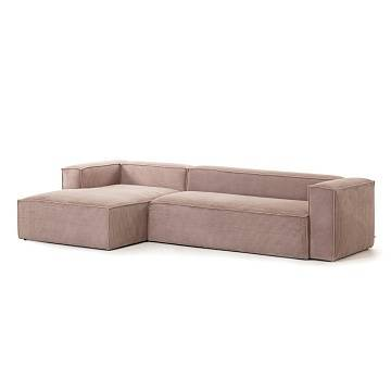 Pink velveteen 3-seater Blok sofa with left chaise longue