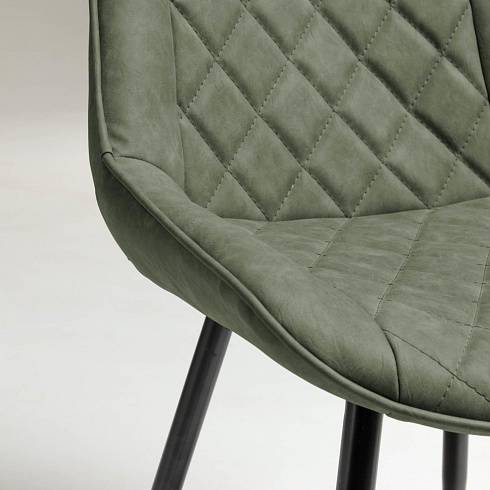 AFFAIR Armchair metal black PU dark green
