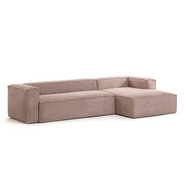 Pink velveteen 3-seater Blok sofa with right chaise longue