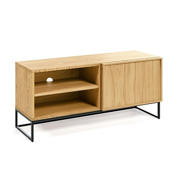 Taiana TV stand with oak veneer and steel frame with black finish 112 x 51 cm
