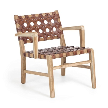 Nuru solid teak and leather armchair