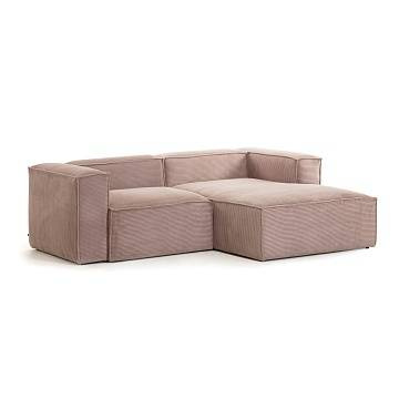 Pink velveteen 2-seater Blok sofa with right chaise longue