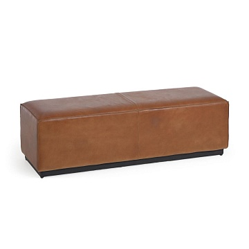 Cesia 120 cm brown buffalo hide storage bench with wooden base