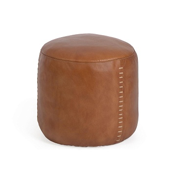 Cesia 40 cm round brown buffalo hide pouffe