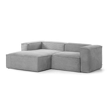 Grey velveteen 2-seater Blok sofa with left chaise longue