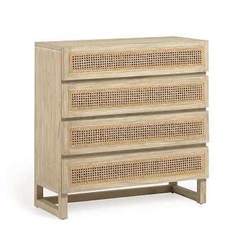 Rexit solid mindi wood and veneer chest of 4 drawers with rattan 90 x 92 cm