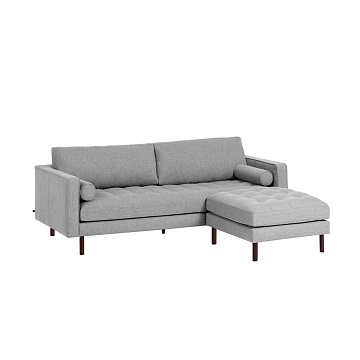 BOGART Light grey 3-seater sofa with pouf 222 cm