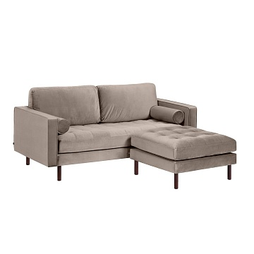 BOGART Taupe velvet 2-seater sofa with pouf 182 cm